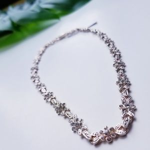 Silver Textured Flower Collar Necklace Crystals